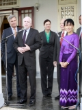 Suu Kyi meets U.S senator McCain at her house on Sunday, Jan.22, 2012, in Yangon, Myanmar