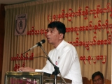 Daw Suu attends a ceremony to marking 24th Anniversary of memorable for members of 88 generation students group at Shwe Hnin Si restaurant on Tuesday, March.13, 2012, in Yangon, Myanmar.