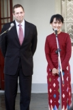 Daw Suu meets Derek Mitchell at her house today, 14 Mar 2012, Yangon, Myanmar.