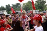 Supporters full of happiness for the victory of NLD in the Apr 1 by-election, 2 Apr 2012, Yangon, Myanmar.
