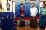 Myanmar pro-democracy icon Aung San Suu Kyi, European Union foreign policy chief Catherine Ashton, U Myint Swe, Yangon Divisional Minister, and Daw Yin Yin Myint from Ministry of Foreign Affair attend the opening ceremony of European Union Office on Saturday, April.28, 2012, in Yangon, Myanmar.