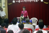 Myanmar opposition leader Aung San Suu Kyi talks to medias during a press conference at the headquarters of her national League for Democracy party in Yangon, Wednesday, June, 2012. (AP Photo/Khin Maung Win)