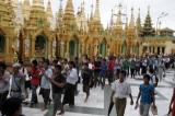 Rakhine Pray at Shwedagon Pagoda on 10 June 2012, Yangon, Myanmar.