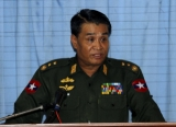 Myanmar Border Affair Minister Lt.Gen Thein Htay talks to reporters during a press briefing on situation in Rakhine State at Ministry of Foreign Affairs office in Yangon, Myanmar on Monday, July.30, 2012.