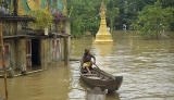 21-08-12 Delta flooding Water innundates a Temple after flooding in the Delta region of Burma