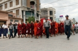 02-09-12 Monk protest in Mandalay - PHOTO Khin Ng Win Myanmar Buddhist monks stage a rally to protest against ethnic minority Rohingya Muslims and in support of Myanmar President Thein Sein's stance toward the sectarian violence that took place in June between ethnic Rakhine Buddhists and Rohingya Muslims in western Myanmar.
