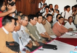 06-09-12 Peace conference - PHOTO Jpaing Delegates from ten democratic parties and the Burmese Peace Mission hold a conference at Yuzana Hotel in Shwe Gone Taing township in Yangon at 1 pm today.  Moe Thee Zun and other exiles who recently returned to Burma also attended the conference.