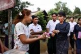 07-09-12 Suu Kyi – PHOTO – khin Maung Win Myanmar pro-democracy leader Aung San Suu Kyi visits Kaw-Hmu township where she won a parliamentary seat during the April 1st By-Election in Yangon, Myanmar.