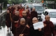 08-10-12 Monk protest - PHOTO - Jpaing Buddhist monks protest the attack on Buddhists in Bangledesh outside the US embassy in Yangon