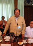 27-09-12 - Union Electoral Commission - PHOTO - Khin Maung Win U Tin Aye, Chairman of Union Election Commission, meets with representatives of 27 political parties at Yangon Hluttaw building on Thursday, Sept.27, 2012, in Yangon, Myanmar.