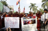 12-12-12 - Monks protest - PHOTO - Jpaing Buddhist monks protest against the Monywa copper mine  and subsequent attack on protesters  by police, at Sula Pagoda in downtown Rangoon