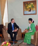 22-11-12 - DASSK meets NZ PM - PHOTO Khin maung Win Daw Suu meet New Zealand Prime Minister at her home in Naypyitaw November.22, 2012.