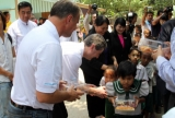 26th April 2013 Manchester united soccer club players and officials visit Myanmar