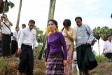 Daw Aung San Suu Kyi visits Kaw Hmu Thursday, May.16, 2013, in Yangon, Myanmar.