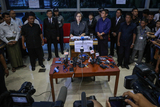 UN Special Rapporteur on Myanmar Yanghee Lee talks during a press conference departure from the Yangon airport .