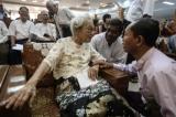 U Ko Ko Gyi meet U Kyi Maung wife at 10th anniversary of U Kyi Maung's death at Royal Rose in Shwe Gone Tine Township, Yangon on 19th August.