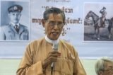 "U Tin Oo, the NLD patron giving a speech at the press release of the autobiography of General Thura Tin Oo , the retired general and the former commander in chief of who was loved by the people, written by Phoe Sai (Journalist) at ""HOME"" on Bo Aung Kyaw Road, Yangon Region on 19th August."