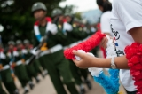 The residences cheered the Border Guard Force with garland as they marched towards the ground where the 4th Anniversary was held  (Photo – Sai Zaw/ The Irrawaddy)