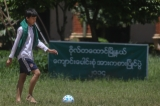 The students playing football in football field at B.E.H.S (6), Botahtaung on 26th August. ( Photo - JPaing /  The Irrawaddy)