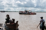 The water-craft from port-police squad came to warn for the security of the people who take sampan to take a look at the salvation site. (Photo – Sai Zaw/ Irrawaddy)