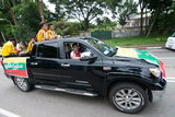 Myanmar National Football Team, the champion of Philippines Peace Cup on a motor vehicle to go Thuwunna Football Stadium for victory celebration on 8th September. Myanmar got a draw result when playing against the Philippines National Team at their home. Myanmar National Team became Champion with Soe Min Oo, the substitute player scored a goal during the extra time. (Photo – Sai Zaw/ Irrawaddy)