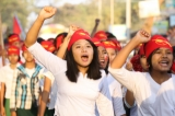 Local students staging protest against National Education Law. ( Photo - JPaing / The Irrawaddy)