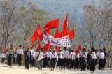 Student protestors on the march to Rangoon. ( Photo - JPaing / The Irrawaddy)