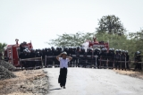 Police erecting barriers at Nawin Valley at the entance to Taungtha. ( Photo - JPaing / The Irrawaddy)