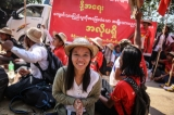 Student protesters  at the standoff in front of a monastery in Letpadan March 3. 2015. ( Photo - JPaing / The Irrawaddy)