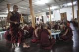 Monks having daybreak meals.