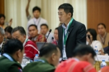 General Gun Maw , head of Burma Army delegate, the seventh round of peace talks between Union Peacemaking Work Committee and Nationwide Ceasefire Coordination Team (NCCT) kicked off at Myanmar Peace Center on March 17 in Rangoon. Photo: JPaing / The Irrawaddy)