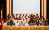 Ethnic leaders of the NCCT (R) and members of the Union Peacemaking Working Committee UPWC (L)signed  the draft Nationwide Ceasefire at the Myanmar Peace Center in yangon. (Photo: JPaing / The Irrawaddy)