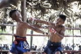 In traditional Burmese boxing, called Letwei, fighters don't wear any protective gloves, February 2015. (Photo: Timo Jaworr / The Irrawaddy)