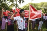 Workers staged a protest on May 1, Labor Day in Rangoon. Around 200 workers staged a protest march from Bo Sein Hman Sports Ground in Bahan Township to Kyaikkasan Stadium in Tamwe Township, calling for pay rise, release of arrested students and return of confiscated farmland. (Photo: Sai Zaw/The Irrawaddy)