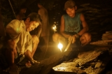 Workers inside a slate mine. (Photo: Tin Htet Paing / The Irrawaddy)
