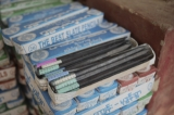 Packs of slate pencils ready to distribute to buyers. (Photo: Tin Htet Paing / The Irrawaddy)