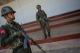 Soldiers of Shan East Special Region in Mongmau, Wa State provide security. (Photo: J Paing/The Irrawaddy)