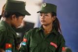 Female soldiers of United Wa State Army (UWSA) in Mongmau, Wa State. (Photo: J Paing/The Irrawaddy)