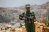 A UWSA soldier provides security in Mongmau, Wa State. (Photo: J Paing/The Irrawaddy)