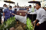 27-07--15 - PHOTO JPaing Notorious USDP hardliner Aung Thaung was cremated at 10am on Monday, amid tight security at Rangoon's Yeway Cemetary.  Aung Thaung died on July 23 in Singapore after being hospitalized with a cerebral hemorrhage. He was 74.