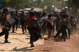 Police attack student protesters in Letpadan, Pegu Division on March 10. (Photo: J Paing / The Irrawaddy)