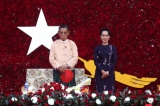 National League for Democracy chairwoman Aung San Suu Kyi and party patron Tin Oo at an NLD rally in Thingangyun Township, Rangoon on Nov 1. (Photo: Thaw Hein Htet / The Irrawaddy)
