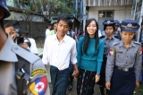 Four student activists and a supporter who staged a protest in Rangoon against police crackdown on student protestors who took to the streets against National Education Law in Letpadan last March come to trial at Kamayut Township Court in Rangoon on Jan. 28. Photo: Myo Min Soe/The Irrawaddy