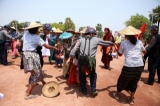 Local farmers protesting the Letpadaung copper mining project in Sagaing Division's Salingyi Township on May 5,2016. (Photo: Myo Min Soe / The Irrawaddy)