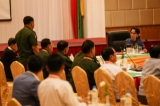 state Counselor Aung San Suu Kyi, upper right, meets with members of the Joint Monitoring Committee in Naypyidaw on April 27,2016 . (Photo: Hein Htet / The Irrawaddy). (Photo: Hein Htet / The Irrawaddy)