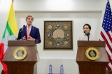 Myanmar Foreign Minister Aung San Suu Kyi addresses reporters during a news conference with U.S. Secretary of State John Kerry that followed their bilateral meeting on May 22, 2016, at the Ministry of Foreign Affairs in Naypyitaw, Myanmar. [State Department photo/ Public Domain]