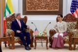 U.S. Secretary of State John Kerry sits with Myanmar Foreign Minister Aung San Suu Kyi before a bilateral meeting on May 22, 2016, at the Ministry of Foreign Affairs in Naypyitaw, Myanmar. [State Department photo/ Public Domain]