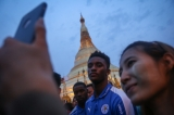 Thai-owned Premier League champions Leicester City arrived Rangoon in Sunday afternoon to pay a short visit to the Shwedagon Pagoda, where they prayed along with Thai Buddhist monks.  (Photos: Hein Htet / The Irrawaddy)