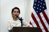 Myanmar Foreign Minister Aung San Suu Kyi addresses reporters during a news conference with U.S. Secretary of State John Kerry that followed their bilateral meeting on May 22, 2016, at the Ministry of Foreign Affairs in Naypyitaw, Myanmar. ( Photo - Htet Naing Zaw / The Irrawaddy )