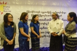 The Brighter Future Myanmar Foundation အနာဂတ္အလင္းတန္းျမန္မာေဖာင္ေဒးရွင္း (BFM), a philanthropic organization run by KBZ Bank that works on disaster relief, women's empowerment and community development, donated 500 million kyats (US$199,815) to the work of 28 different local charity groups, including the Free Funeral Services Society (FFSS), Twilight Villa and the Kyaw Thu Charity Network. (Photo: JPaing / The Irrawaddy)